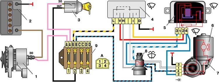 Схема включения стеклоочистителя ВАЗ-2101