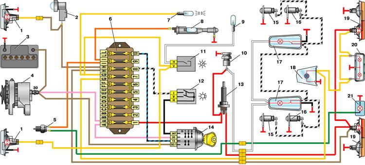 Схема цепей освещения ВАЗ-2101