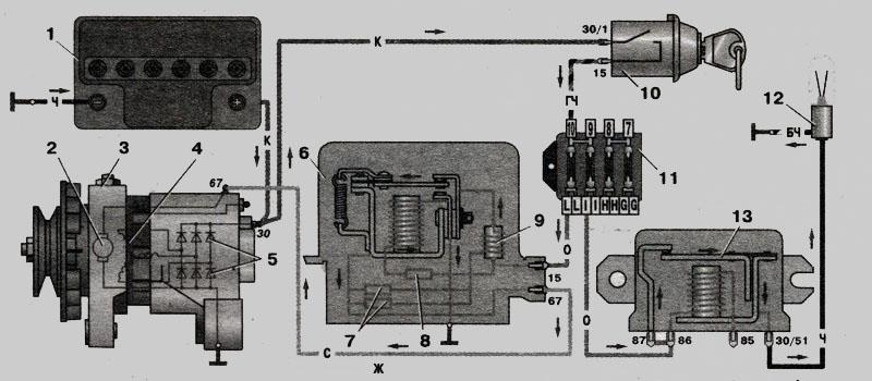 Схема соединений генератора ВАЗ-2101