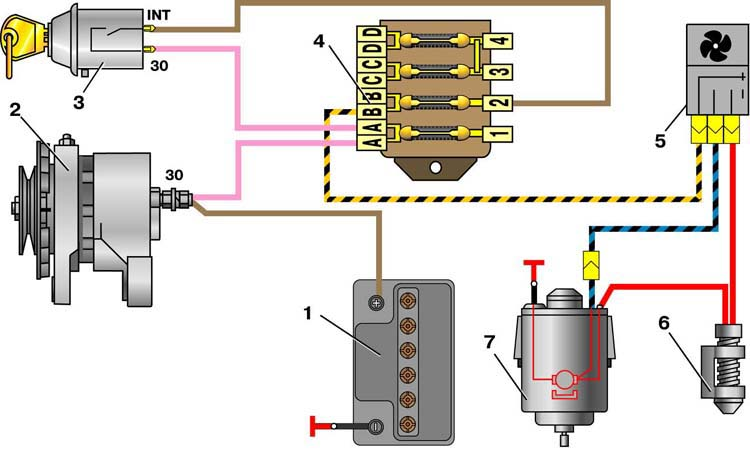 Схема включения двигателя вентилятора отопителя ВАЗ-2101