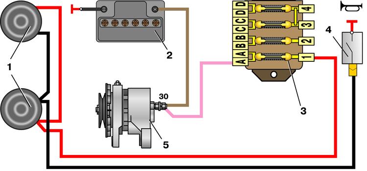 Схема включения звукового сигнала на ВАЗ-2101