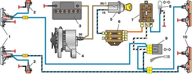Схема указателей поворота ВАЗ-2101