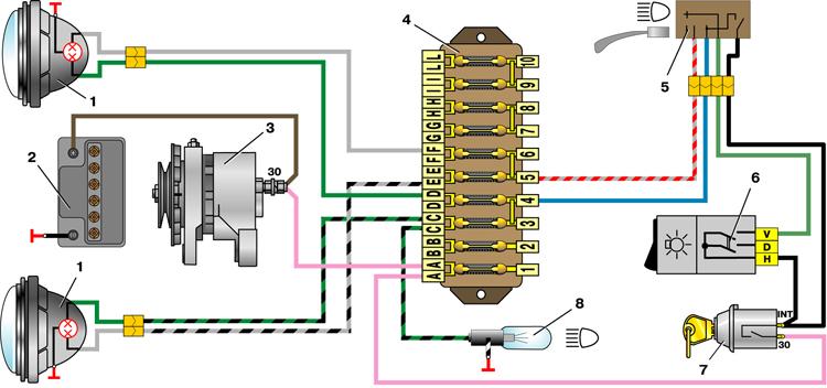 Схема включения фар ВАЗ-2101