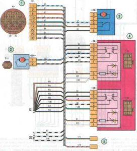 Электросхема передней левой двери Лада Гранта