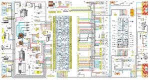 Схема электрооборудования автомобилей ВАЗ–2108, ВАЗ-21083, ВАЗ–2109, ВАЗ-21093 и ВАЗ-21099 исполнения «стандарт» (с панелью приборов -2108, с монтажным блоком типа 17.3722, годы выпуска 1988–1999 гг.)